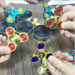 Discount spinning diamond - Metal Diamond Fidget Tri Spinner Rainbow Colorful Hand Spinners Triangle Fingertip Handspinner Decompression Fingers Tip