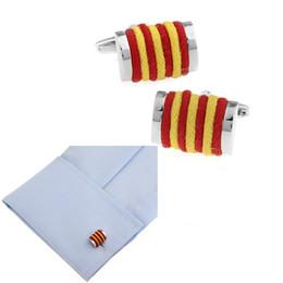 $enCountryForm.capitalKeyWord Australia - Mechanical Red & Yellow Two-tone Hemp Rope Knit Cufflinks Steel Plated Cuff Link Sleeve Nail Men Shirt Cloth Button Christmas Wedding Gift