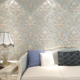 Vente en gros Style européen 3D relief Damas papier peint bleu Damas non-tissé papier peint pour chambre murs salon TV fond mur