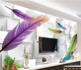fireproof fabrics wholesale Australia - Photo any size Fashion feathers simple 3D background wall mural 3d wallpaper 3d wall papers for tv backdrop
