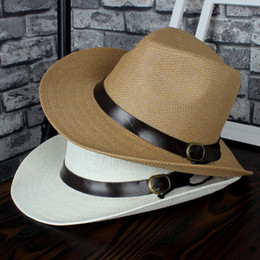 $enCountryForm.capitalKeyWord Canada - Fashion Wide Brim Straw Hats Man Women Cowboy Hats multicolor casual Beach Caps Panama Hat free shipping