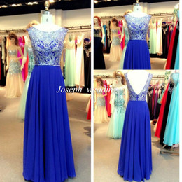 Robe En Mousseline De Soie À Manches Longues Pas Cher-Real Sample Robes de soirée Royal Blue Color A Line Princess Manches courtes Longueur au sol en mousseline Long Backless Women Gowns Prom