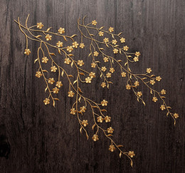 Barato Grande Applique Flor Bordada-Grandes 47cm Flores Golden Bordados Costura Patches Ferro na etiqueta Patch para vestuário Casaco Applique DIY Vestido de casamento DIY Decorações