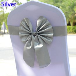 $enCountryForm.capitalKeyWord NZ - Silver colour chair sash butterfly style bow tie stretch sash lycra band spandex chair cover sash for weddings wholesale