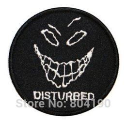 "Discount heavy metal band patches - 3"" Disturbed Evil Grin Heavy Metal Music Band Iron On Sew On Patch Tshirt TRANSFER MOTIF APPLIQUE Rock Punk Badge W"