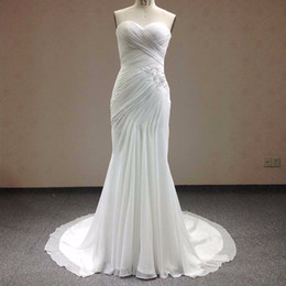 beautiful sweetheart mermaid wedding dress 2019 - Real Photo Beautiful Lace Flowers Mermaid Wedding Bridal Dresses Romantic Bridal Gowns Chapel Train Bridal gown WD0049 c