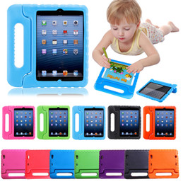 eva foam cover NZ - Kids Children Handle Stand EVA Foam Shockproof Cover Stand For iPad New 2017 2 3 4 air 2 Mini 4 case For galaxy tab 3D Cute portable