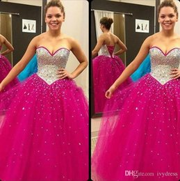 Discount sparkly quinceanera dresses - Sparkly Fuchsia Quinceanera Dresses Ball Gowns Crystal Beaded Sweetheart Tulle Sweet 16 Debutante Dress Vestidos De
