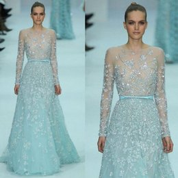 Barato Elie Saab Azul Mangas-Illusion 2017 Elie Saab Prom Dresses Cristais Bead Ribbon Long Sleeve Vestido de noite Sweep Length Sheer Neck Vestidos de noite formais