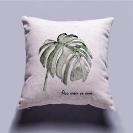 $enCountryForm.capitalKeyWord Australia - Minimalism Cushion Cover Simplism Style Linen Cloth Digit Printing Plant Leaf Pattern Green Ink White Background Home Sofa Car Bench Decor