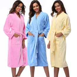$enCountryForm.capitalKeyWord Canada - Wholesale- Women Robes 2016 Winter Warm Cotton Sleepwear Kimono Robe Woman Hotel Spa Long Sleeve Soft Plush Bathrobe Solid nightgown Pijama