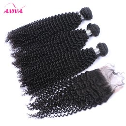 russian curly hair bundle Canada - Russian Kinky Curly Virgin Hair Weaves With Closure 4 Pcs Lot Unprocessed Russian Curly Virgin Hair Bundles With Top Lace Closures Soft Full