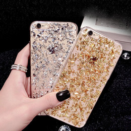 Iphone S6 Glitter NZ - Bling Platinum Soft TPU Clear Case Fragment Glitter Powder Goldleaf Foil Cover For iPhone 6 6S Plus S6 S7 Edge Note 5