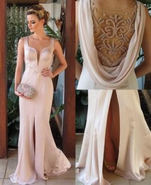 Barato Vestido Com Contas De Rosa Pálido-Stunning Designer Cristais Beaded Sheer Back Evening Dresses 2017 Pale Pink Sheer Jewel Neck Front Split Long Party Prom Gowns