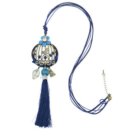 Wholesale idealway Wine Blue Bohemian Leather Chain Theads Tassel Charms Crystal Rhinestone Flower Leaf Birdcage Pendant Necklace