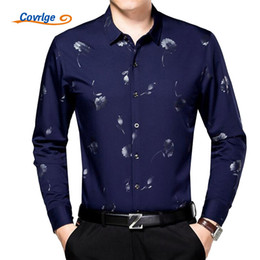 Fiber Brands NZ - Wholesale- Covrlge 2017 Spring Men Business Shirt New Fashion Men's Bamboo Fiber Long Sleeve Shirts Brand Clothing Male Print Dress MCL045
