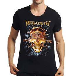 Black Shirt Loose Skull Canada - 2017 Fashion streetwear men's 3D Metal Rock MEGADETH Bells Skulls t-shirt black short sleeve clothes t shirt loose fit Tops BMTX33 F