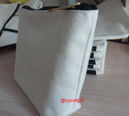 diy zipper bag NZ - NEW--Girls cotton canvas cosmetic Bags DIY women blank plain zipper handle makeup bag phone clutch bag Gift organizer cases pencil pouches