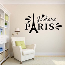 Eiffel Tower Decal Stickers For Wall NZ - For Paris Love Romantic Eiffel Tower Bedroom Home Personality Wall Stickers Drawing Room Decals Diy Vinyl Decor