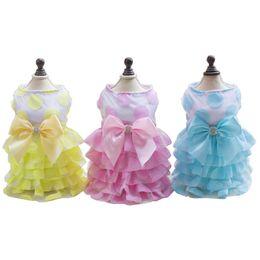 2018 Spring   Summer Pet Dresses Dog Puppy Clothes Tutu dress Petticoat Dogs  Apparel Pet Costumes Bowknot Wedding Dresses 59f98f593ca2