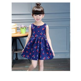 9d092cf0327 linen baby dresses 2019 - Girls Dress Casual Cherry Print Toddler Ball Gown  Princess Dress Cotton