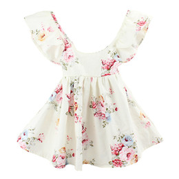 Wholesale baby girl toddler Kids Summer clothes Pink Blue Rose Floral Dress Jumper Jumpsuits Halter Neck Ruffle Lace Sexy Back Wide Bowknot B11