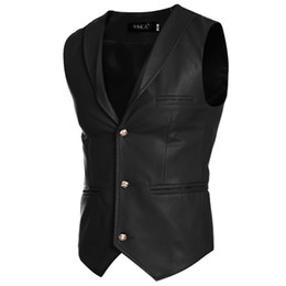 Chinese  Wholesale- 2016 Fashion Gentleman PU Waistcoat Buttons Men Casual Slim Fitness Vest Man Businesswear Leather Formal Coats Fake Pocket MQ4 manufacturers
