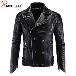 Chinese  Wholesale- Phanteen High Quality Punk Man Jackets Skull Rivet Pu Faux Leather Autumn Motorcycle Jackets Fashion Men Clothing Plus Size 5XL manufacturers