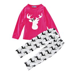 Chinese  Ins Christmas Girls Baby Clothing Set Deer Elk Long Sleeves T-Shirt+Long Pants Hot Sale Spring And Autumn Clothes manufacturers