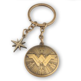 Superhero Keychains Canada - Movie Jewelry Wonder Woman Keychains Vintage Antique Bronze Superhero Shield Key Ring Holder