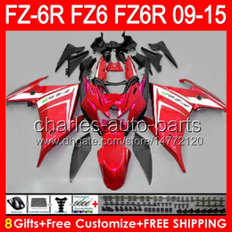 Fairing For Yamaha Fz6r NZ - gloss red 8gifts For YAMAHA FZ6R 09 10 11 12 13 14 15 FZ6N FZ6 89NO115 FZ-6R FZ 6R 2009 2010 2011 2012 2013 2014 2015 TOP red black Fairing