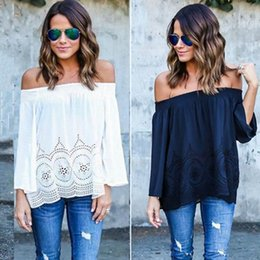 Barato Tampa Do Ombro Chiffon-HOT 2016 Mulheres Branco Lace Chiffon T Shirts Casual Loose Camisas Sexy Tops Ombro Ombro Longo Boho Cover Up blusas femme Z2