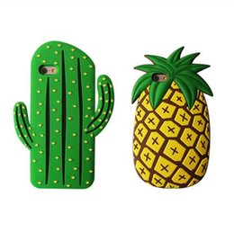 Chinese  Funny 3D Cute Cartoon Cool Fruit Cactus Pineapple Soft Rubber Silcion Case For iPhone 7 6S 5S SE 8 plus Goophone X manufacturers