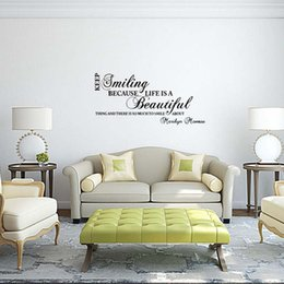 For Marilyn Monroe Smiling Life Quote Wall Stickers Art Room Removable  Vinyl Decals Bedroom Sitting Room Diy Decor