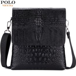 77015a0f78da Wholesale-VICUNA POLO Luxury Embossed Alligator Pattern Famous Brand Men  Messenger Bags Classic Business Mens Shoulder Bag Briefcase Bag
