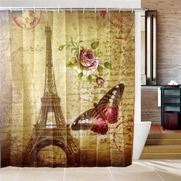 Wholesale  New Arrived Shower Curtains Bathroom Curtain WIth 12 Hooks Paris Eiffel  Tower Thickened Polyester Waterproof Bath Shower Curtain