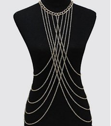 gold silver belly chains UK - Fashion Womens Bralette Chain Gold  Silver Tone Necklaces Tassel Harness Bra Top Fashion Body Chain Crystal Chain Bra