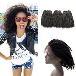 Discount afro hair extensions bundles - 22.5*4*2 inch 360 Lace Frontal With 3 Bundles Mongolian Afro Kinky Curly Human Hair Extensions With 360 Frontal G-EASY