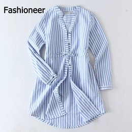 9ba21949b6ab1 Fashioneer Shirt Dress For Woman Striped V Neck Cardigan Long Sleeve  Patchwork Sashes Shirts Dresses For Women Lady S-L Size shirt cardigan for  sale