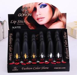Discount lipstick bullets - Matte lipstick Hottest selling bullet lip stick black tube waterproof long lasting lip gloss mix colors supply