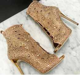 82c56395c5fe8 Sexy Ladies Crystal Full Covered Peep toe Ankle Boots Plated Stiletto High  Heels Women Bling Rivets Lace Up Dress Bottines Women Shoes Mujer