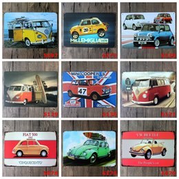 Japan badges online shopping - Various Cars Retro Iron Paintings Europe Metal Tin Signs cm Mini Cooper Fiat Cinquecento Tin Poster Crafts rjs