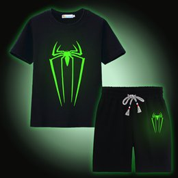 T-shirt Enfant Araignée Pas Cher-Spider Luminous Boys Ensembles de vêtements 100% coton Summer Short Sleeve Fluorescent T-Shirts Pantalons Children Sport Suit Vêtements pour enfants
