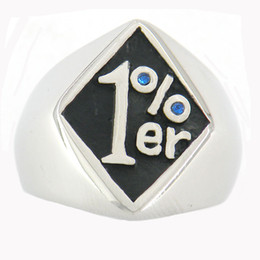 $enCountryForm.capitalKeyWord Canada - STAINLESS STEEL punk vintage mens or womens JEWELRY ONE PERCENTER MOTOR CYCLE OUTLAW BIKER RING WITH blue STONE GIFT FOR BROTHERS SISTERS