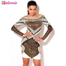 Barato 3d Bodycon Vestidos-Venda Por Atacado Hot Venda Primavera Moda 3D Print Mulheres Vestido Sexy Off Shoulder Bodycon Vestido Slim Slash Neck Vestidos De Festa Dígito Impresso Dress