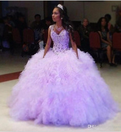 a12c938585c Gold color quinceanera dresses online shopping - 2017 Lavender Sweetheart Quinceanera  Dresses Crystals Beaded Ruffles Tiered