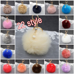 White Pearl Pink Car NZ - 3.14 Inch Novelty Rabbit Fur Ball Pearl Charm Key Chain For Car Keyring Bag With Gold Keyrings Women Gift 22 Color C132L