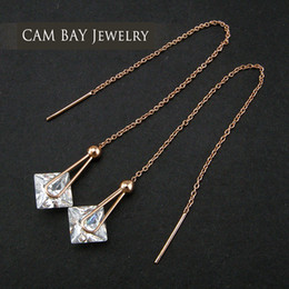 $enCountryForm.capitalKeyWord Australia - Chinese Jewelry Wholesale Drop Earrings Long Link Chain Big Crystal Heart Dropping Sweet Ear Accessories Women