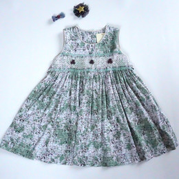High Quality Boutique Clothing Canada - Vintage Handmade Girl's Dress 100% Cotton Boutique Kid's Clothing for Sale Floral Print with Handmade Decoration High Quality Dresses