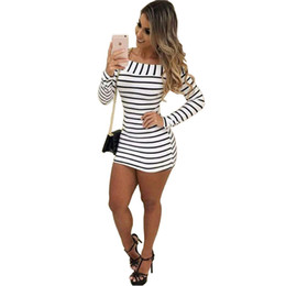 Barato Vestido De Primavera Longo-Mulheres Off The Shoulder Striped Bodycon Vestido Spring Autumn Shirt Vestido Moda Long Sleeve Slash Neck Striped Dresses Sexy t-shirt